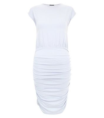 Pale Blue Jersey Ruched Side Bodycon Dress New Look
