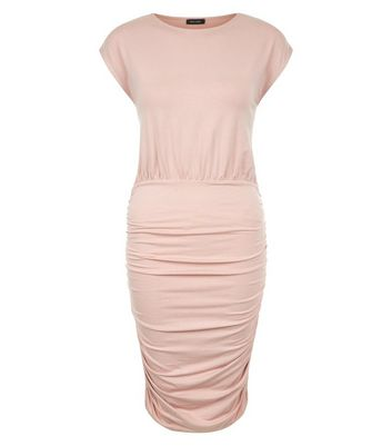 Shell Pink Jersey Ruched Side Bodycon Dress New Look