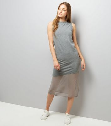Grey Sleeveless Split Side Midi Dress New Look