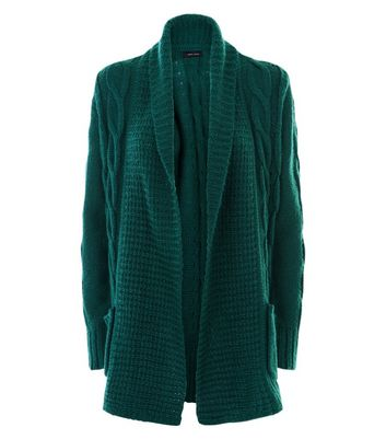Dark Green Cable Knit Cardigan New Look