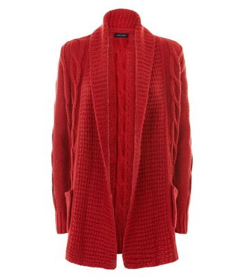Red Cable Knit Cardigan New Look