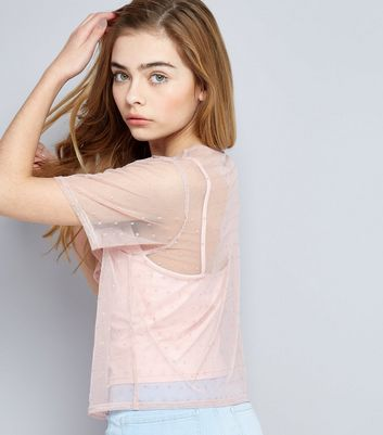 Teens Pink Spot Print Frill Trim Mesh T-Shirt New Look