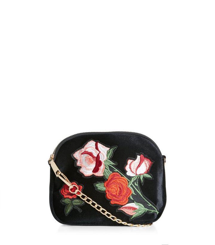 186c3b4f93af Black Floral Embroidered Across Body Bag