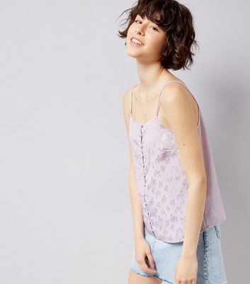 Lilac Floral Jacquard Button Front Cami Top New Look