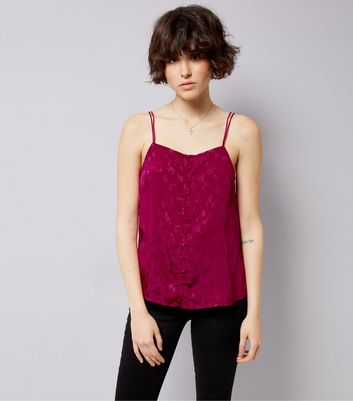 Deep Pink Floral Jacquard Button Front Cami New Look