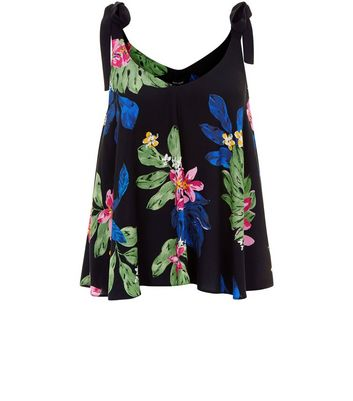 Black Floral Print Tie Strap Cami Top New Look