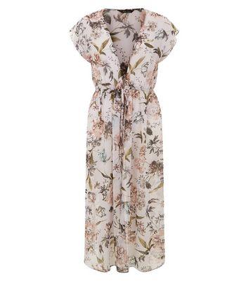 Lilac Floral Print Tie Waist Longline Kimono New Look