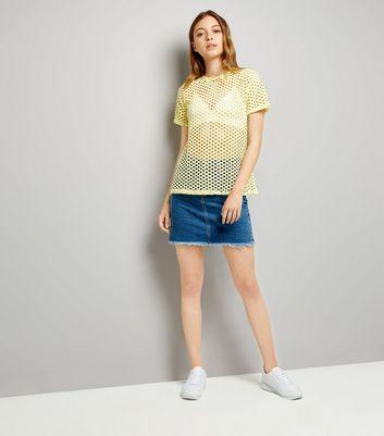 Yellow Fishnet Oversized T-Shirt New Look