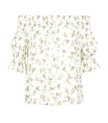 White Floral Print Shirred Bardot Top New Look