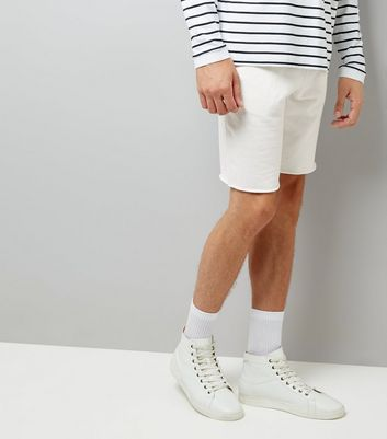 Off White Raw Hem Shorts New Look