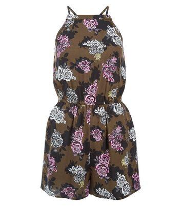 Teens Khaki Floral Print Playsuit New Look