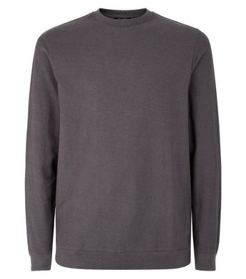 Dark Grey Crew Neck Sweatshirt New Look