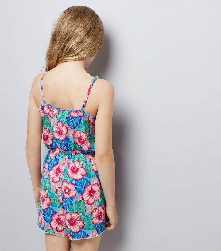 f7823943827 ... Teens Blue Tropical Print Beach Playsuit. ×. ×. ×. Shop the look