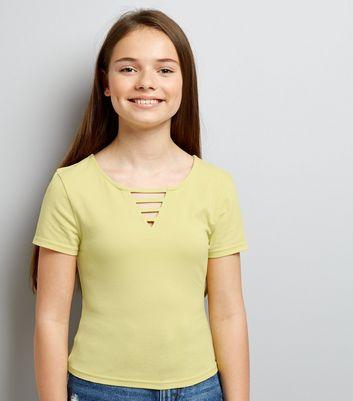 Teens Yellow Lattice Front T-Shirt New Look