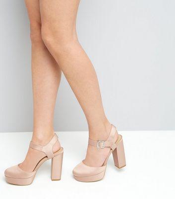 Wide Fit Pink Satin Platform Heels