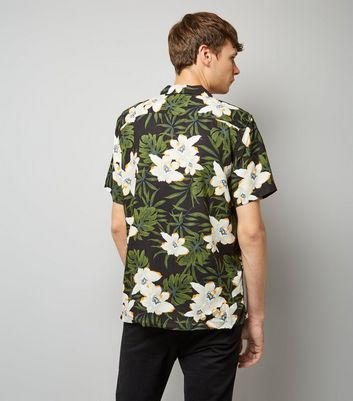 Black Tropical Floral Print Short Shirt New Look