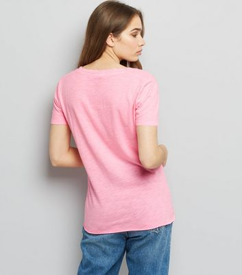 Bright Pink Organic Cotton V Neck T-Shirt New Look