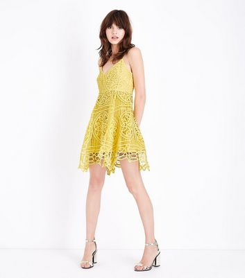 Yellow Crochet Lace Skater Dress New Look