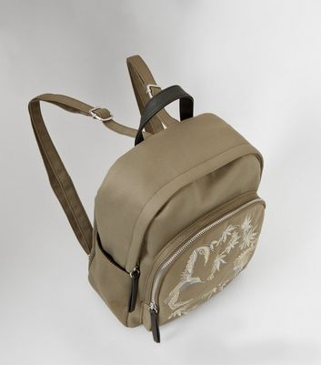 Khaki Bird Embroidered Backpack New Look