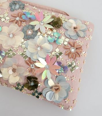 Pink 3D Flower Embellished Purse New Look