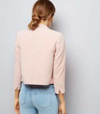Petite Shell Pink Cropped Jacket New Look