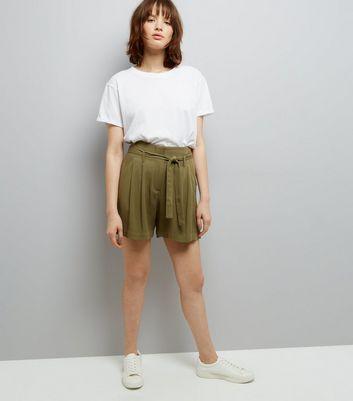 Khaki Tie Waist Shorts New Look