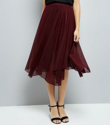 Burgundy Mesh Hanky Hem Skirt New Look