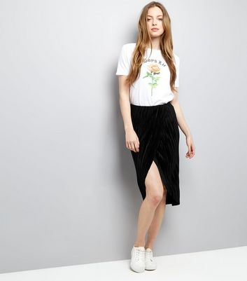Black Pleated Wrap Front Midi Skirt New Look