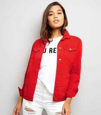 Red Denim Jacket New Look