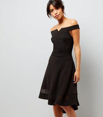 Tall Black Bardot Neck Mesh Panel Dip Hem Dress New Look