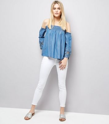 Blue Lace Cuff Bardot Neck Top New Look