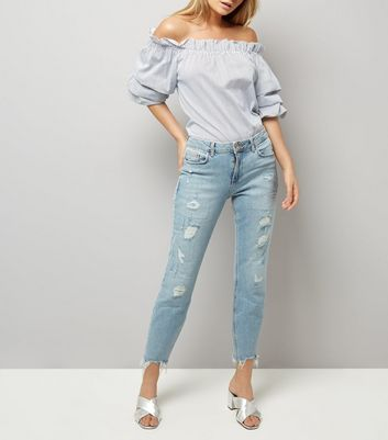 Blue Ripped Relaxed Skinny Leyla Jeans New Look