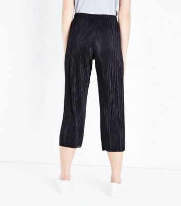Black Pleated Culottes New Look