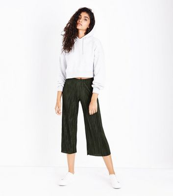 Khaki Pleated Culottes New Look