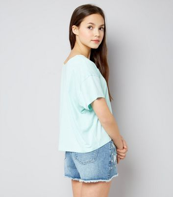 Teens Blue Denim Studded Shorts New Look