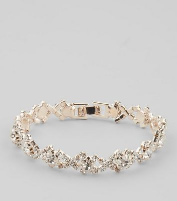 Rose Gold Crystal Bracelet New Look