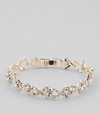 Rose Gold Crystal Bracelet New Look