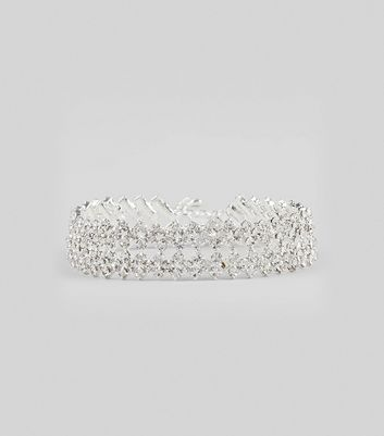 Silver Crystal Bracelet New Look