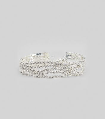 Silver Crystal Wavey Bracelet New Look