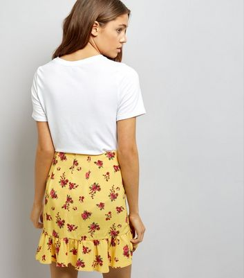 Yellow Ditsy Floral Print Frill Trim Mini Skirt New Look