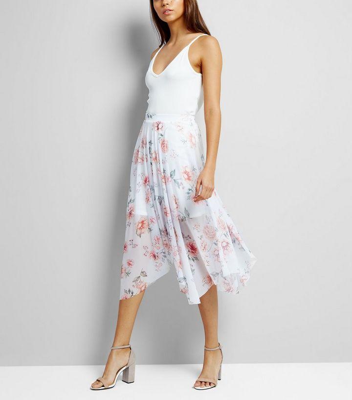 de8471ab30d White Floral Print Hanky Hem Midi Skirt