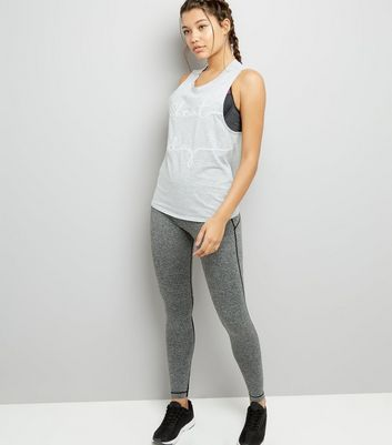 Mid Grey Cheat Day Print Sports Tank Top New Look
