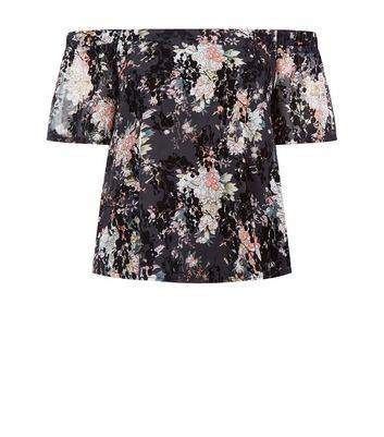 Teens Black Floral Print Flocked Bardot Neck Top New Look