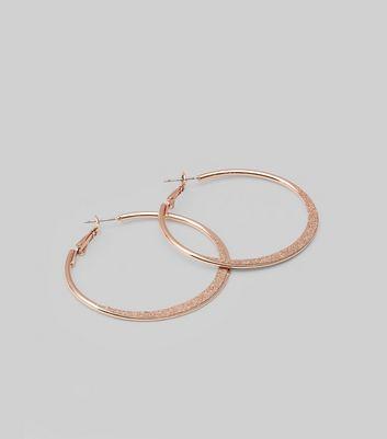 Rose Gold Glitter Skinny Hoop Earrings New Look