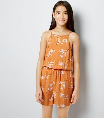 Teens Orange Floral Print Lattice Front Playsuit New Look
