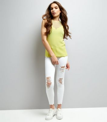 Yellow Mesh Panel Scallop Hem Sleevless Top New Look