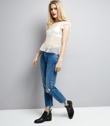 White Textured Polkadot and Lace Frill Trim Top New Look