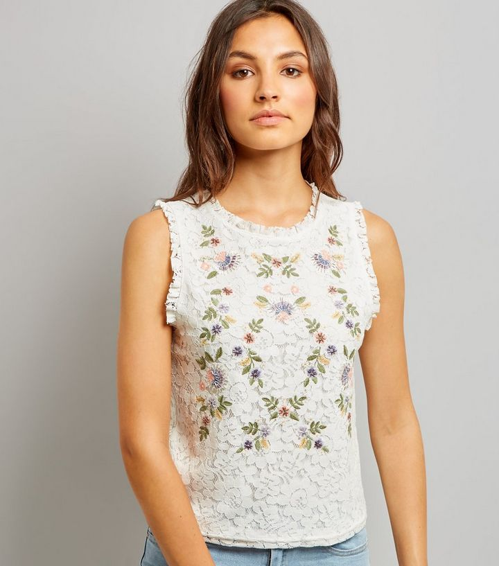 d367639b651047 Tall White Floral Embroidered Lace Sleeveless Top