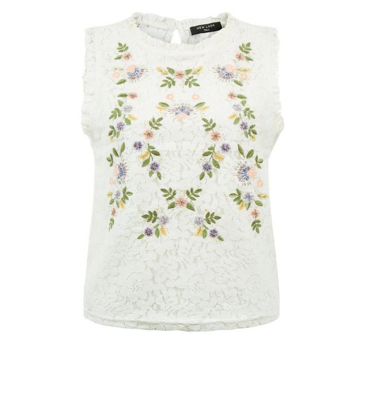 cc5faf7c ... Womens Clothing · Tall White Floral Embroidered Lace Sleeveless Top. ×.  ×. ×. Shop the look
