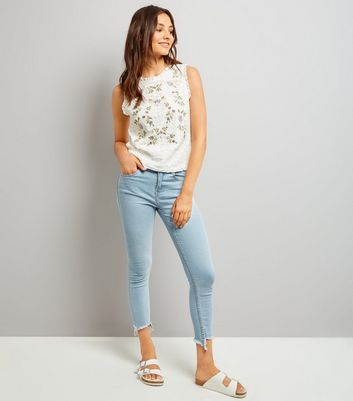 Tall White Floral Embroidered Lace Sleeveless Top New Look
